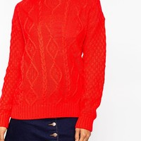 Glamorous Cable Knit Sweater with Elbow Patches at asos.com