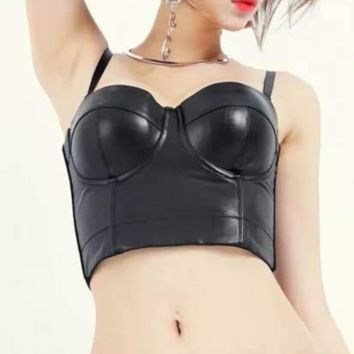 Fashion New Summer Solid Color Leather Straps Top Black