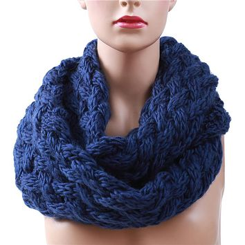 Winter Cable Ring Scarf Women Knitting Infinity Scarves Knitted Warm Neck Circle Scarf bufandas cuellos Hot Sale KH988544