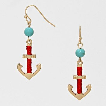 Anchor Thread Wrapped Drop Earrings