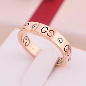 GUCCI Trending Women Men Logo Hollow Geometric Pattern Diamond Ring Titanium Steel Tail Ring Joint Ring(3-Color) Rose Gold