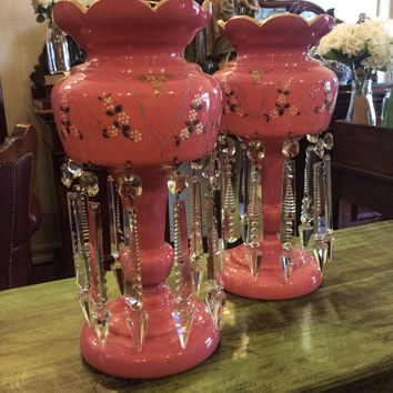 Pair Antique Victorian Tall Pink Lustre Vases, Hand painted floral motifs c.1890
