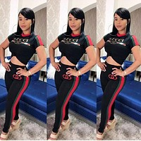GUCCI Summer Hot Sale Women Print Shorts Sleeve Top Pants Trousers Set Two-Piece