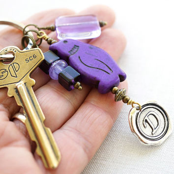 Purple Monogram Keychain, Personalized Keychain, Initial Keychain, Penguin, Wax Seal, Howlite Turquoise Jewelry, Unisex Gift