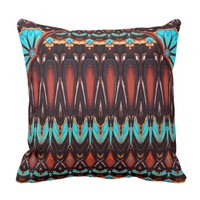 K172 Wood and Turquoise Vertical Pattern Throw Pillow