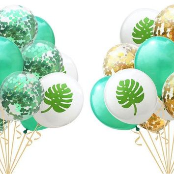 TROPICAL PALM LEAVES Balloons-Tropical Party Decoration, Turtle Leaf Confetti Balloon, Green Balloons, Hawaiian Party Balloons, Luau Party