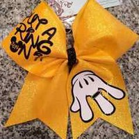 Put a Ring On It Yellow Glitter World Champion Cheer Bow