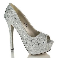 Brodie1 By DBDK, Glitter Mesh Dress Rhinestone Studded Peep Toe Platform Stiletto Heels