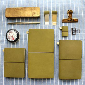 Fromthenon Vintage Notebook Diary Olive Green Leather Planner 2017 Agenda Retro Pen Holder Clip For Midori Travelers Notebook