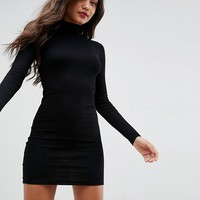 ASOS Mini Rib Bodycon Dress with Polo Neck at asos.com