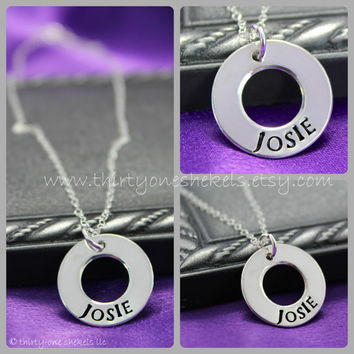 Hand Stamped necklace, Personalized Washer Necklace, Personalized Mommy Necklace, Custom Mother's Necklace, Sterling Silver Mommy Necklace