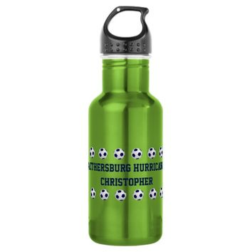 Water Bottle, Personalized Soccer Team, Neon Green Stainless Steel Water Bottle