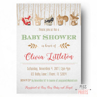 Woodland Baby Shower Invitation - Forest Animal Baby Shower Invites - Forest Friends Baby Shower - Baby Boy Woodland Invitation PRINTABLE