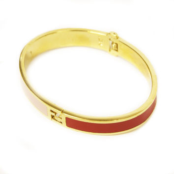 Fendi Gold FF Logo Women's Pink Red Metal Bracelet 266258