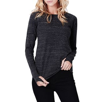 Tri-Blend Long Sleeve Round Neck T Shirt with Thumb Hole