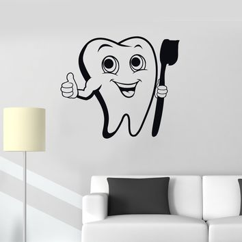 Vinyl Wall Decal Positive Tooth Toothbrush Dental Care Bathroom Decor Stickers Mural Unique Gift (ig5223)