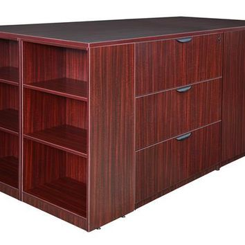 Legacy Stand Up Lateral File/ 3 Storage Cabinet Quad with Bookcase End- Mahogany