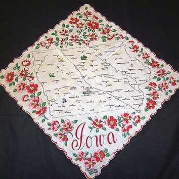 Vintage Ranshaw Iowa Souvenir Hanky State Map 1950s Cotton, Iowa State Hankie, Map Handkerchief