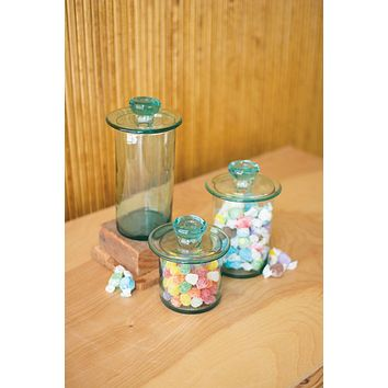 Set of 3 Recycled Glass Canisters - Clear