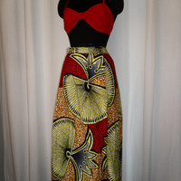 Tribal African vivid Nigerian Ankara batik skirt with pixels in red navy yellow orange and black- doubles as dress: size 6-8