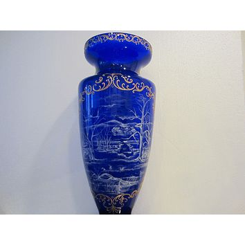 Snow Painted Cobalt Blue Glass Vase Gold Scrolled Relief Oriental Scene