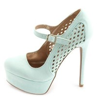 Laser Cut-Out Mary Jane Platform Pumps by Charlotte Russe - Mint