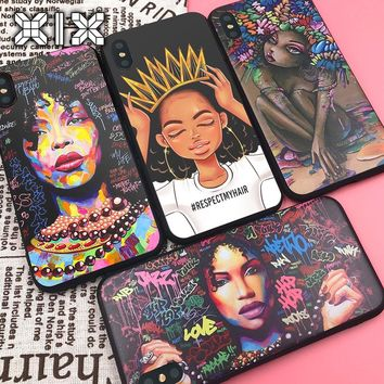 XIX for Funda iPhone X Case 5 5S 6 6S 7 8 Plus X XS Max XR African Girls for Cover iPhone 7 Case Soft TPU for Capa iPhone 8 Case