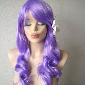 Lavender  wig.  Lolita sweet wig. Long wig. Curly long wig. Cosplay wig. Light Purple wig.