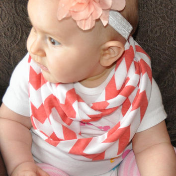Baby Coral Chevron Infinity Scarf  Toddler Kids by ChevronScarf