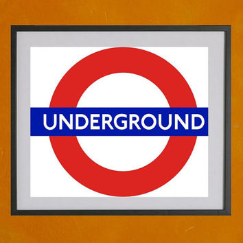 London Underground Logo, Minimalist Print - 8.5x11 Poster Print - also available in 13x19 - see listing details