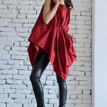 NEW!Red Asymmetric Top/Sexy Red Tunic/Loose Belt Vest/Sleeveless Tunic Top/Long Elegant Top/Full Draping Top/Plus Size Casual Tunic Dress