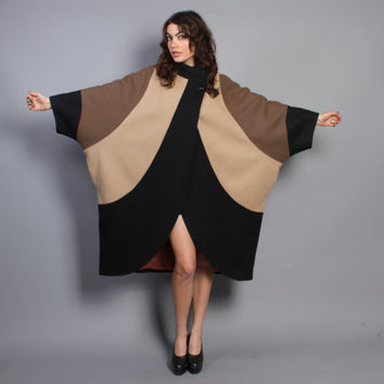 80s AVANT Garde WOOL COAT / Colorblock Batwing Draped Jacket