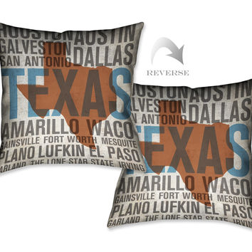 States - Texas Indoor Decorative Pillow