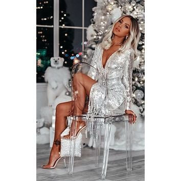 Call Me Silver Sequin Long Sleeve Cross Wrap Plunge V Neck Fringe Midi Dress