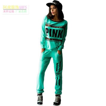 Pullover Tracksuit Women Letter Pink Print Sport Suit Hoodies Sweatshirt +Pant 3 Colors Jogging Sportswear Costume 2pc Set