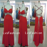Straps Sweetheart with Crystal Red Chiffon Prom by LvsFashion