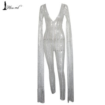 Missord 2016 Sexy Deep-V cut out long sleeve sequin JUMPSUITS FT4682