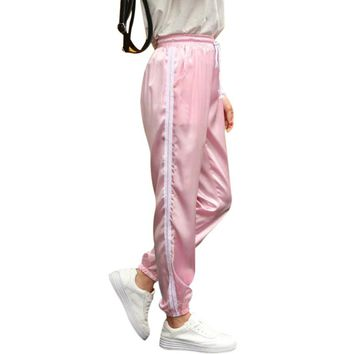 10 Color Sweatpants Women Elastic High Waist Pants 2018 Sportswear Casual Baggy Pink Striped Ladies Trousers Pantalon Femme