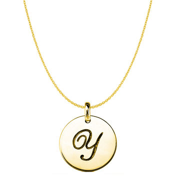 """""""Y"""" 14K Yellow Gold Script Engraved Initial Disk Pendant"""