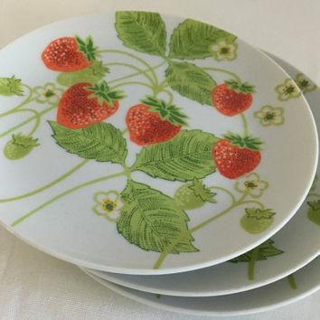 Fitz and Floyd Wild Strawberry Set of Three (3)  Retro 80s Side Plates Salad Plates
