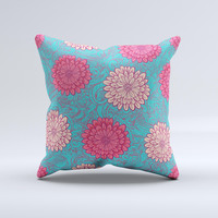 Pink & Blue Floral Illustration  Ink-Fuzed Decorative Throw Pillow