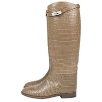 Hermes Jumping Riding Boots Alligator Kelly Taupe Palladium Hardware