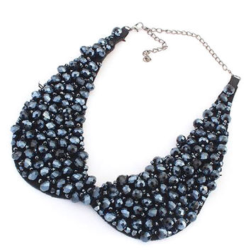 Navy Beaded Chain Collar Necklace