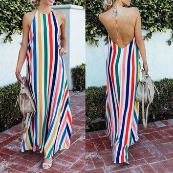 Women Holiday Boho Backless Chic Lace up Halterneck Fashion Multi-color Striped Long Maxi Dress Beach Sundress