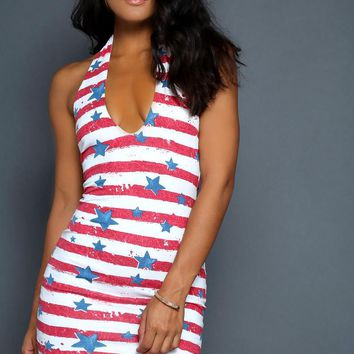 American Flag Halter Dress