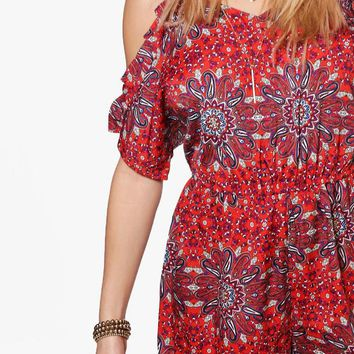 Nutellia Open Shoulder Ruffle Printed Playsuit | Boohoo