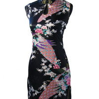 Hot Sale Black Chinese Womens Silk Rayou Mini Halter Cheongsam Qipao Dress Peafowl Size S M L XL XXL Free Shipping J5141