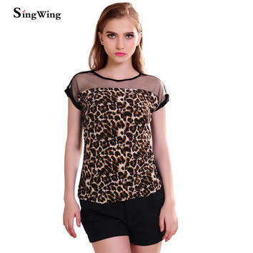Singwing Hot Sale Summer Women Leopard Blouse Ladies Sexy Short Sleeve Blusas Femininas