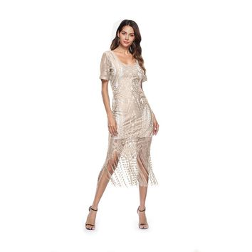 Elegant Bodycon with Fringes Bohemian Maxi Dresses for Women Lace Summer Beach Pure Color DressesVestidos Empire  Pencil