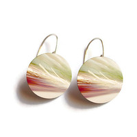 Art Earrings - FREE SHIPPING to USA sterling silver dangle earrings artsy hipster bright colors cute flat circle earring unique jewelry